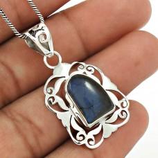 Labradorite Gemstone Pendant 925 Sterling Silver Vintage Look Jewelry TG23
