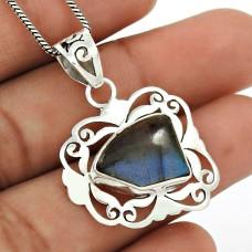 Labradorite Gemstone Pendant 925 Sterling Silver Stylish Jewelry YH23
