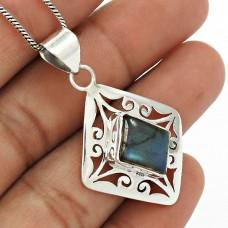 Labradorite Gemstone Pendant 925 Sterling Silver Traditional Jewelry PH24