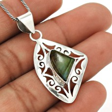 Labradorite Gemstone Pendant 925 Sterling Silver Stylish Jewelry WS24