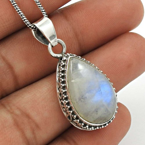 Rainbow Moonstone Pendant 925 Sterling Silver Traditional Jewelry PN2