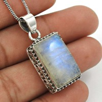 Rainbow Moonstone Pendant 925 Sterling Silver Vintage Jewelry PN1