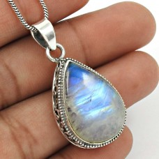 Rainbow Moonstone Pendant 925 Sterling Silver Vintage Look Jewelry PN4