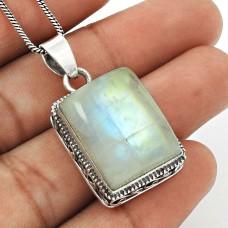 Rainbow Moonstone Pendant 925 Sterling Silver Stylish Jewelry PN5