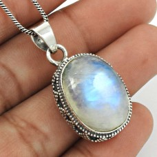 Rainbow Moonstone Pendant 925 Sterling Silver Traditional Jewelry PN16