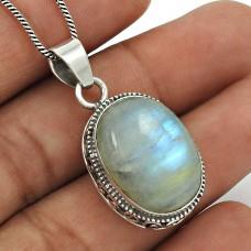 Rainbow Moonstone Pendant 925 Sterling Silver Tribal Jewelry PN27