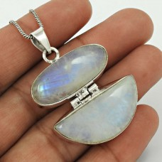 Rainbow Moonstone Pendant 925 Sterling Silver Traditional Jewelry PN51
