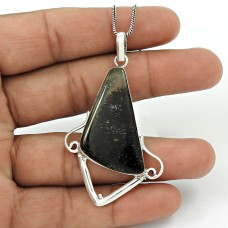 Black Rutile Gemstone Pendant 925 Sterling Silver Stylish Jewelry PN54