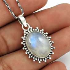 Rainbow Moonstone Pendant 925 Sterling Silver Ethnic Jewelry PN56