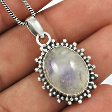 Rainbow Moonstone Pendant 925 Sterling Silver Ethnic Jewelry PN59