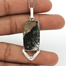 Black Rutile Gemstone Pendant 925 Sterling Silver Ethnic Jewelry PN87