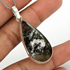 Black Rutile Gemstone Pendant 925 Sterling Silver Traditional Jewelry PN93