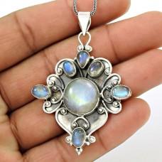 HANDMADE 925 Silver Jewelry Natural RAINBOW MOONSTONE Bohemian Pendant AA8