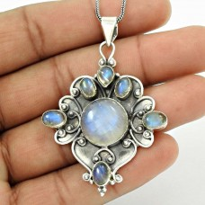 Natural RAINBOW MOONSTONE Gemstone HANDMADE Jewelry 925 Silver Pendant CC8