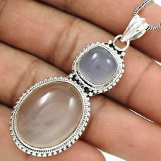 Natural ROSE QUARTZ CHALCEDONY Boho Pendant 925 Silver HANDMADE Jewelry HH8
