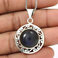 Natural LABRADORITE Gemstone Boho Pendant 925 Silver HANDMADE Fine Jewelry N11