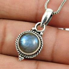 Labradorite Gemstone Pendant 925 Sterling Silver Vintage Look Jewelry Z9