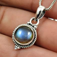 Labradorite Gemstone Pendant 925 Sterling Silver Handmade Jewelry C10