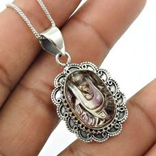 Natural FLUORITE Gemstone HANDMADE Jewelry 925 Sterling Silver Ganesha Pendant UU19