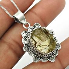 Natural FLUORITE Gemstone Ganesha Pendant 925 Silver HANDMADE Fine Jewelry TG66