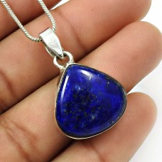 Lapis Lazuli Gemstone Pendant 925 Sterling Silver Vintage Jewelry O12