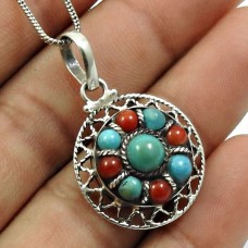 Turquoise Coral Gemstone Pendant 925 Sterling Silver Traditional Jewelry P12