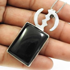 Black Onyx Gemstone Pendant Solid 925 Sterling Silver Traditional Jewelry T13