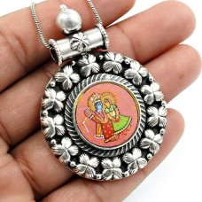 Glass Painting Pendant Oxidized 925 Sterling Silver Indian Temple Jewelry R29
