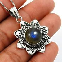 Labradorite Gemstone Pendant 925 Sterling Silver Vintage Jewelry W29