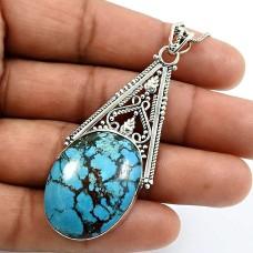 Oval Shape Turquoise Gemstone Pendant 925 Sterling Silver Fine Jewelry J10