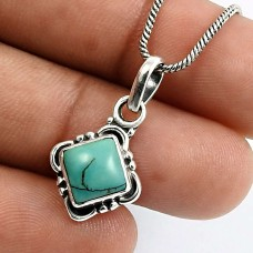 925 Sterling Silver Jewelry Cushion Shape Turquoise Gemstone Pendant N11