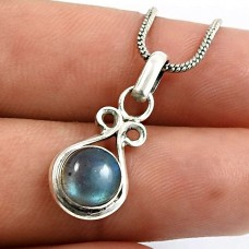 Round Shape Labradorite Gemstone Jewelry 925 Fine Sterling Silver Pendant Q3