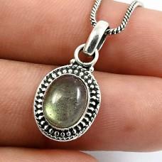HANDMADE 925 Sterling Silver Jewelry Oval Shape Labradorite Gemstone Pendant Q1