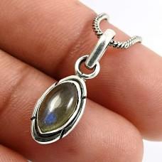 Marquise Shape Labradorite Gemstone Pendant 925 Sterling Silver Fine Jewelry O18