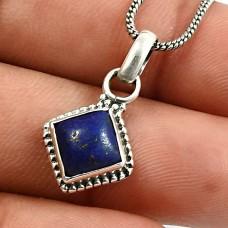Cushion Shape Lapis Lazuli Gemstone Pendant 925 Sterling Silver Jewelry Y18