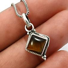 925 Sterling Silver Jewelry Cushion Shape Tiger'S Eye Gemstone Pendant B19
