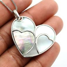 925 Silver Jewelry Fancy Shape Shell Mother Of Pearl Gemstone Heart Pendant C19