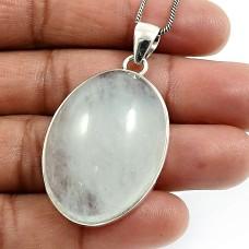 Oval Shape Aquamarine Gemstone Jewelry 925 Solid Sterling Silver Pendant J19