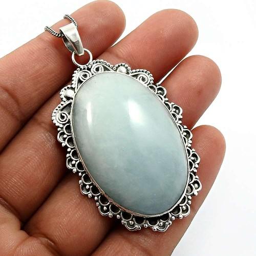 925 Sterling Fine Silver Jewelry Oval Shape Aquamarine Gemstone Pendant N22