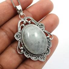 Oval Shape Aquamarine Gemstone Pendant 925 Sterling Silver HANDMADE Jewelry O22