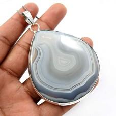 925 Sterling Fine Silver Jewelry Pear Shape Striped Onyx Gemstone Pendant O19