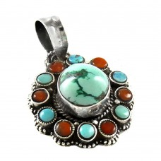 Simple ! Tibet Coral & Turquoise 925 Sterling Silver Pendant Boho Jewellery