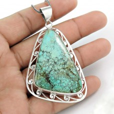 925 Sterling Silver Bohemian Jewellery Beautiful Turquoise Pendant Wholesaler