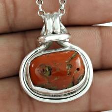 Sterling Silver Fashion Jewellery High Polish Coral Gemstone Pendant Lieferant