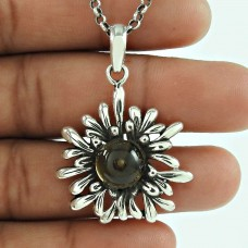 Pleasing Smoky Quartz Gemstone 925 Sterling Silver Pendant Jewellery