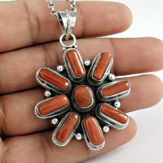 925 Sterling Silver Jewellery Rare Coral Gemstone Pendant Proveedor