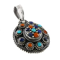 Tibetan Coral, Turquoise & Lapis Pendant 925 Sterling Silver Bohemian Jewellery Mayorista