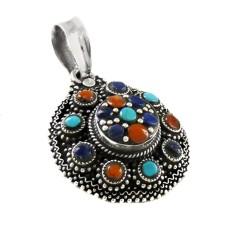 Tibetan Coral, Turquoise & Lapis Pendant 925 Sterling Silver Bohemian Jewellery Mayorista