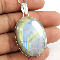 Big Delicate! 925 Sterling Silver Rainbow Moon Stone Pendant