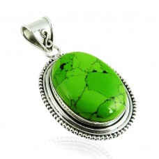 Draditions!! 925 Silver Mahogany Turquoise Pendant